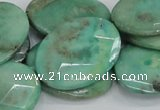 CAB42 15.5 inches 22*30mm faceted oval green grass agate beads