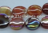 CAB526 15.5 inches 16mm coin AB-color red agate beads wholesale