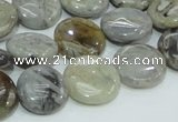 CAB75 15.5 inches 15mm flat round silver needle agate gemstone beads