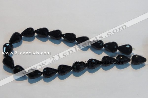 CAB800 15.5 inches 14*20mm faceted teardrop black gemstone agate beads