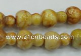 CAB938 15.5 inches 13*18mm calabash yellow crazy lace agate beads