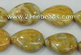 CAB941 15.5 inches 18*25mm flat teardrop yellow crazy lace agate beads