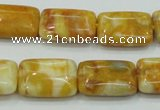 CAB943 15.5 inches 13*18mm rectangle yellow crazy lace agate beads