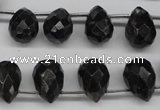CAE43 Top-drilled 10*14mm faceted teardrop astrophyllite beads
