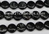 CAE44 15.5 inches 10mm flat round astrophyllite beads wholesale