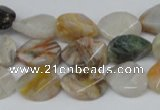 CAG1113 15.5 inches 10*14mm twisted oval bamboo leaf agate beads