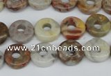 CAG1116 15.5 inches 12mm donut bamboo leaf agate beads wholesale
