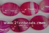 CAG1175 15.5 inches 15*20mm oval line agate gemstone beads