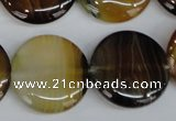 CAG1309 15.5 inches 25mm flat round line agate gemstone beads