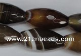 CAG1344 15.5 inches 15*30mm faceted rice line agate gemstone beads