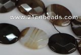 CAG1349 15.5 inches 15*20mm faceted oval line agate gemstone beads