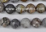 CAG1434 15.5 inches 12mm faceted round bamboo leaf agate beads