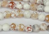 CAG1511 15.5 inches 8mm faceted round fire crackle agate beads