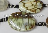 CAG1577 15.5 inches 20*30mm twisted oval fire crackle agate beads