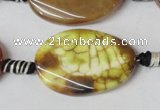 CAG1578 15.5 inches 20*30mm twisted oval fire crackle agate beads