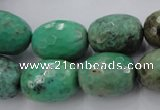 CAG1609 15.5 inches 15*20mm faceted drum green grass agate beads