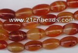 CAG1646 15.5 inches 8*12mm rice red agate gemstone beads