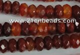 CAG1665 15.5 inches 6*10mm faceted rondelle red agate gemstone beads