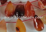 CAG1669 Top-drilled 13*18mm faceted teardrop red agate gemstone beads