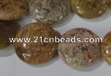 CAG1729 15.5 inches 20mm flat round rainbow agate beads wholesale