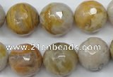 CAG1835 15.5 inches 16mm faceted round bamboo leaf agate beads