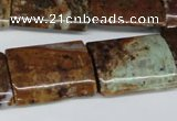 CAG2078 15.5 inches 18*25mm flat tube rainbow agate beads wholesale