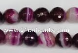 CAG2087 15.5 inches 10mm faceted round fuchsia line agate beads
