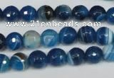 CAG2104 15.5 inches 8mm faceted round blue line agate beads