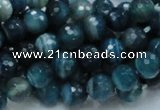 CAG214 15.5 inches 8mm faceted round blue agate gemstone beads