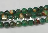 CAG2221 15.5 inches 6mm faceted round fire crackle agate beads