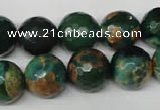 CAG2225 15.5 inches 14mm faceted round fire crackle agate beads
