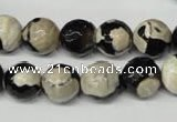 CAG2244 15.5 inches 12mm faceted round fire crackle agate beads