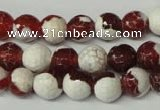 CAG2253 15.5 inches 10mm faceted round fire crackle agate beads