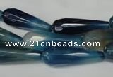 CAG2306 15.5 inches 10*30mm faceted teardrop agate gemstone beads