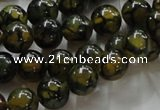 CAG235 15.5 inches 10mm round dragon veins agate gemstone beads