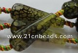 CAG246 15.5 inches 13*40mm faceted teardrop dragon veins agate beads