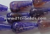CAG249 15.5 inches 13*28mm teardrop dragon veins agate beads