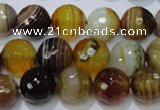 CAG2714 15.5 inches 12mm faceted round yellow line agate beads