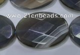 CAG2737 15.5 inches 25*35mm faceted oval grey line agate beads