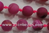 CAG2803 15.5 inches 12mm round matte druzy agate beads whholesale