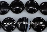 CAG2909 15.5 inches 16mm flat round black line agate beads