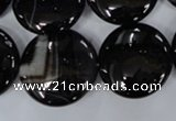 CAG2912 15.5 inches 22mm flat round black line agate beads