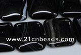 CAG2947 15.5 inches 20*20mm square black line agate beads