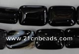 CAG2955 15.5 inches 13*18mm rectangle black line agate beads