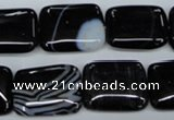 CAG2956 15.5 inches 15*20mm rectangle black line agate beads