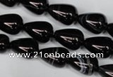 CAG2963 15.5 inches 10*14mm teardrop black line agate beads