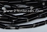 CAG2974 15.5 inches 4*14mm tube black line agate beads