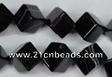 CAG2978 15.5 inches 10*10mm cube black line agate beads