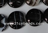CAG2996 15.5 inches 20mm flat round black line agate beads