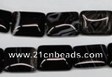 CAG3022 15.5 inches 12*16mm rectangle black line agate beads